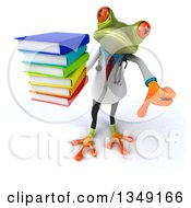 Clipart Of A 3d Green Doctor Springer Frog Holding Up A Thumb Down And Stack Of Books Royalty Free Illustration