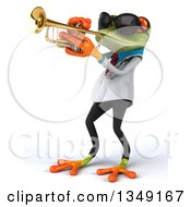 Clipart Of A 3d Green Doctor Springer Frog Wearing Sunglasses And Playing A Trumpet Facing Left Royalty Free Illustration