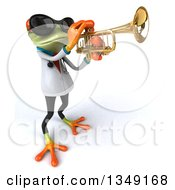 Clipart Of A 3d Green Doctor Springer Frog Wearing Sunglasses And Playing A Trumpet Facing Right Royalty Free Illustration