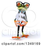 Clipart Of A 3d Bespectacled Green Doctor Springer Frog Walking And Holding A Silver Dollar Currency Symbol Royalty Free Illustration by Julos