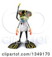 Clipart Of A 3d Green Doctor Springer Frog In Snorkel Gear Royalty Free Illustration