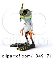 Clipart Of A 3d Green Doctor Springer Frog In Snorkel Gear Facing Left Royalty Free Illustration