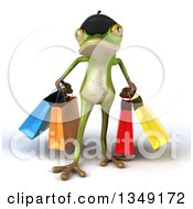 Clipart Of A 3d Green French Springer Frog Walking With Shopping Bags Royalty Free Illustration by Julos