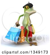 Clipart Of A 3d Green French Springer Frog Walking To The Right With Shopping Bags Royalty Free Illustration by Julos