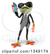 Clipart Of A 3d Green Business Springer Frog Wearing Sunglasses And Talking On A Smart Cell Phone Royalty Free Illustration