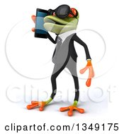Clipart Of A 3d Green Business Springer Frog Wearing Sunglasses Facing Left And Talking On A Smart Cell Phone Royalty Free Illustration