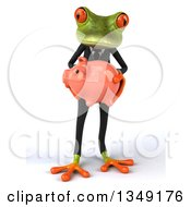 Clipart Of A 3d Green Business Springer Frog Holding A Piggy Bank Royalty Free Illustration