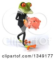 Clipart Of A 3d Green Business Springer Frog Walking To The Right And Holding A Piggy Bank Royalty Free Illustration