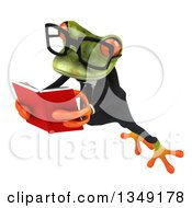 Clipart Of A 3d Bespectacled Green Business Springer Frog Leaping To The Left And Reading A Book Royalty Free Illustration