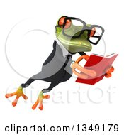 Clipart Of A 3d Bespectacled Green Business Springer Frog Leaping To The Right And Reading A Book Royalty Free Illustration