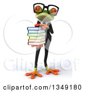 Clipart Of A 3d Bespectacled Green Business Springer Frog Holding A Stack Of Books Royalty Free Illustration