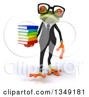 Clipart Of A 3d Bespectacled Green Business Springer Frog Walking And Holding A Stack Of Books Royalty Free Illustration