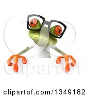 Clipart Of A 3d Bespectacled Casual Green Springer Frog Wearing A White T Shirt Over A Sign Royalty Free Illustration
