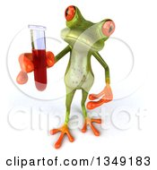 Clipart Of A 3d Green Springer Frog Holding Up Blood In A Test Tube Royalty Free Illustration