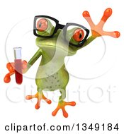 Clipart Of A 3d Bespectacled Green Springer Frog Leaping And Holding Blood In A Test Tube Royalty Free Illustration