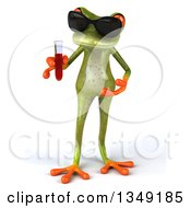 Clipart Of A 3d Green Springer Frog Wearing Sunglasses And Holding Blood In A Test Tube Royalty Free Illustration