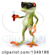 Clipart Of A 3d Green Springer Frog Wearing Sunglasses Walking To The Left And Holding Blood In A Test Tube Royalty Free Illustration