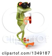 Clipart Of A 3d Green Springer Frog Wearing Sunglasses Walking To The Right And Holding Blood In A Test Tube Royalty Free Illustration