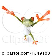 Clipart Of A 3d Casual Green Springer Frog Wearing A White T Shirt And Jumping Royalty Free Illustration
