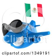 Clipart Of A 3d Blue Airplane Wearing Sunglasses And Flying Slightly To The Left With A Mexican Flag Royalty Free Illustration
