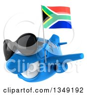 Clipart Of A 3d Happy Blue Airplane Wearing Sunglasses And Flying To The Left With A South African Flag Royalty Free Illustration