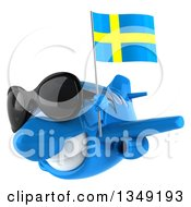 Clipart Of A 3d Happy Blue Airplane Wearing Sunglasses And Flying Slightly To The Left With A Swedish Flag Royalty Free Illustration