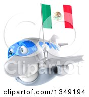 Clipart Of A 3d White Airplane Flying Slightly To The Left With A Mexican Flag Royalty Free Illustration