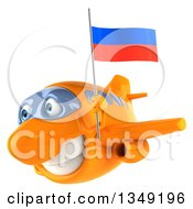 Clipart Of A 3d Happy Orange Airplane Flying To The Left With A Russian Flag Royalty Free Illustration