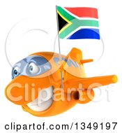 Clipart Of A 3d Happy Orange Airplane Flying To The Left With A South African Flag Royalty Free Illustration