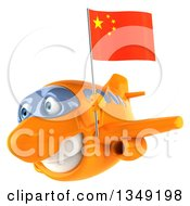 Clipart Of A 3d Orange Airplane Flying To The Left With A Chinese Flag Royalty Free Illustration