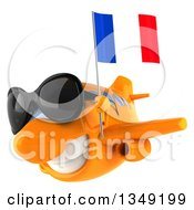 Clipart Of A 3d Happy Orange Airplane Wearing Sunglasses Flying To The Left And Holding A French Flag Royalty Free Illustration