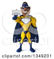 Clipart Of A 3d Muscular Black Male Super Hero In A Yellow And Blue Suit Holding Out A Business Card Royalty Free Illustration