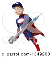 Clipart Of A 3d Young White Male Super Hero Mechanic In Red And Dark Blue Holding A Giant Vaccine Syringe And Flying Royalty Free Illustration by Julos
