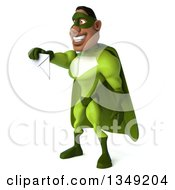 Clipart Of A 3d Buff Male Black Super Hero In Green Facing Left And Holding Out An Envelope Royalty Free Illustration