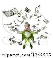 Clipart Of A 3d Buff Male Black Super Hero In Green With Falling Cash Money Royalty Free Illustration