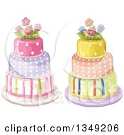 Clipart Of Beautiful Three Tiered Striped And Polka Dot Birthday Cakes Topped With Flowers Royalty Free Vector Illustration