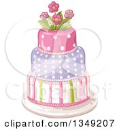 Clipart Of A Beautiful Three Tiered Striped And Polka Dot Birthday Cake Topped With Flowers Royalty Free Vector Illustration