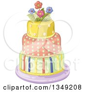 Clipart Of A Beautiful Three Tiered Striped And Polka Dot Birthday Cake With Flowers Royalty Free Vector Illustration