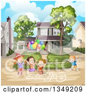 Clipart Of A Group Of Happy Caucasian Children Playing Hop Scotch On A Neighborhood Street Royalty Free Vector Illustration by merlinul