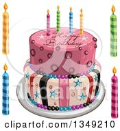 Clipart Of A Funky Two Tiered Cake With Stars Stripes Candles And Happy Birthday Text Candles On The Side Royalty Free Vector Illustration