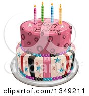 Clipart Of A Funky Two Tiered Cake With Stars Stripes Candles And Happy Birthday Text Royalty Free Vector Illustration