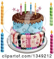 Clipart Of A Funky Two Tiered Cake With Stars Stripes Candles Chocolate Frosting Over Blue And Happy Birthday Text Candles On The Side Royalty Free Vector Illustration