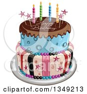 Clipart Of A Funky Two Tiered Cake With Stars Stripes Candles Chocolate Frosting Over Blue And Happy Birthday Text Royalty Free Vector Illustration