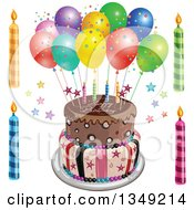 Clipart Of A Funky Two Tiered Cake With Stars Stripes Candles Party Balloons And Happy Birthday Text Candles On The Side Royalty Free Vector Illustration