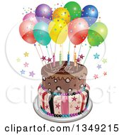 Clipart Of A Funky Two Tiered Cake With Stars Stripes Candles Party Balloons And Happy Birthday Text Royalty Free Vector Illustration