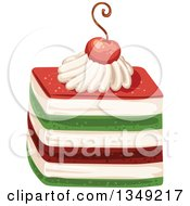 Clipart Of A Red Cream And Green Layered Cake Garnished With A Cherry Royalty Free Vector Illustration by merlinul
