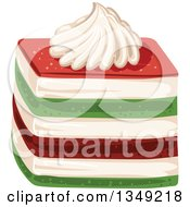 Clipart Of A Red Cream And Green Layered Cake Garnished With Cream Royalty Free Vector Illustration by merlinul