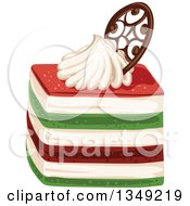 Clipart Of A Red Cream And Green Layered Cake Garnished With Cream And Cholate Royalty Free Vector Illustration by merlinul