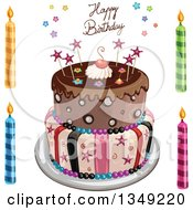 Clipart Of A Funky Two Tiered Cake With Stars Stripes And Happy Birthday Text Candles On The Side Royalty Free Vector Illustration