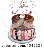 Clipart Of A Funky Two Tiered Cake With Stars Stripes And Happy Birthday Text Royalty Free Vector Illustration
